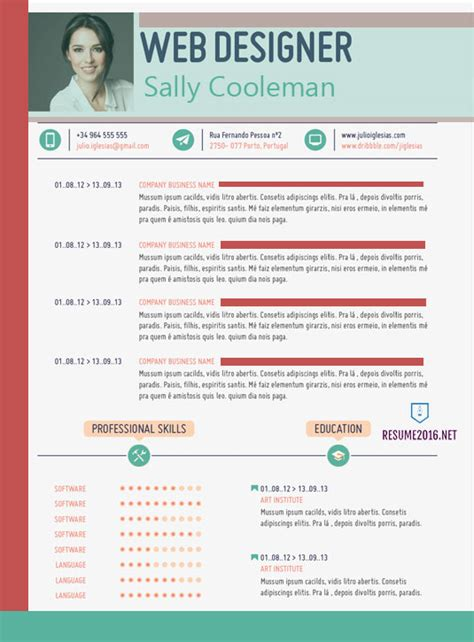 web design cv templates 20 awesome resume templates 2016 get employed today