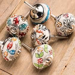 fair trade painted flowers ceramic embossed door knob
