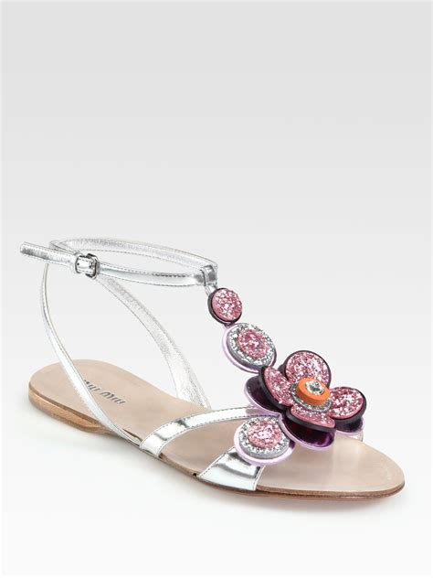 Sandal Flat Miu Miu lyst miu miu glitter jeweled flower metallic leather sandals in metallic