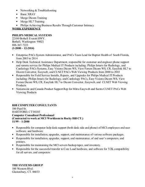 Pacs Administration Sle Resume by Pacs Administrator Healthcare It It