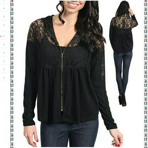 Jaket Hoodie Zipper Sweater Levis boutique lace zip up hooded cardigan sweater jacket