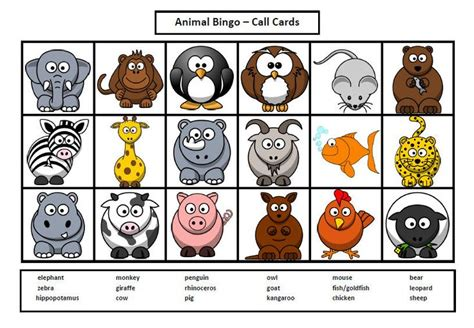 printable zoo animal cards 7 best images of printable animal bingo zoo animal bingo