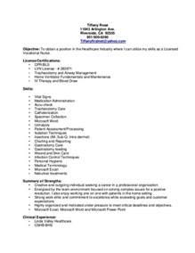 Lvn Resume Examples Lvn Resume Tiffany Rose