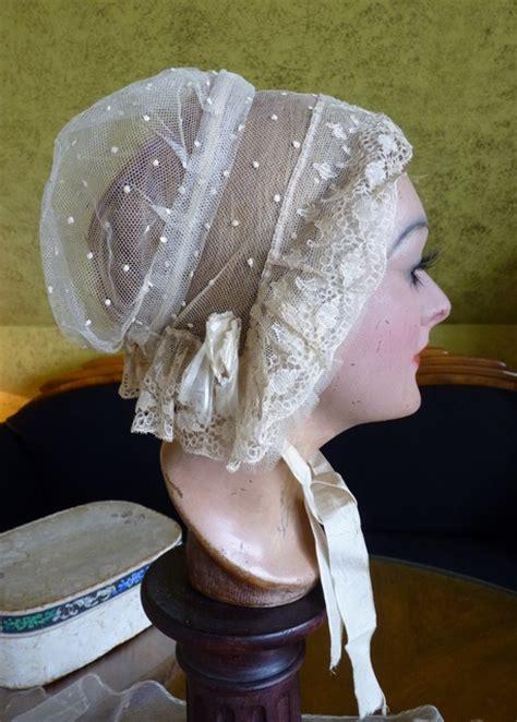 early victorian lace wedding bonnet  box  www