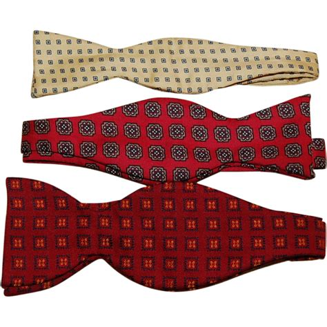 three vintage silk s bow ties from starrhillantiques