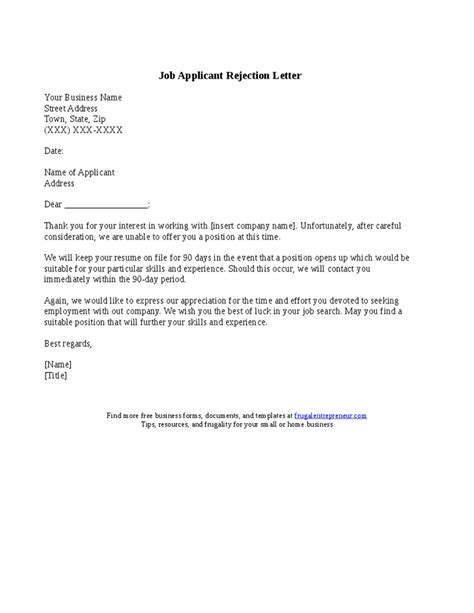 applicant rejection letter samples application