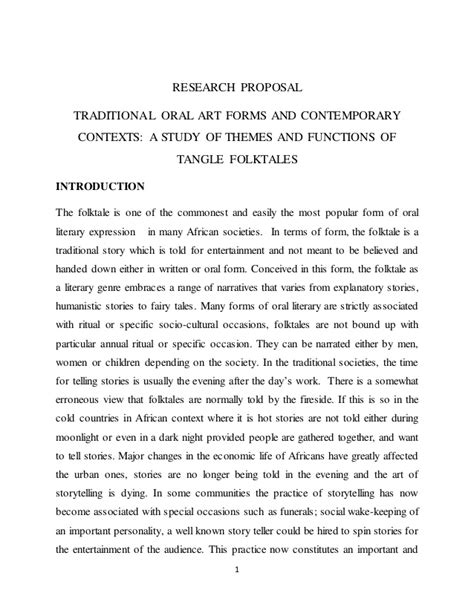 themes in oral literature research proposal