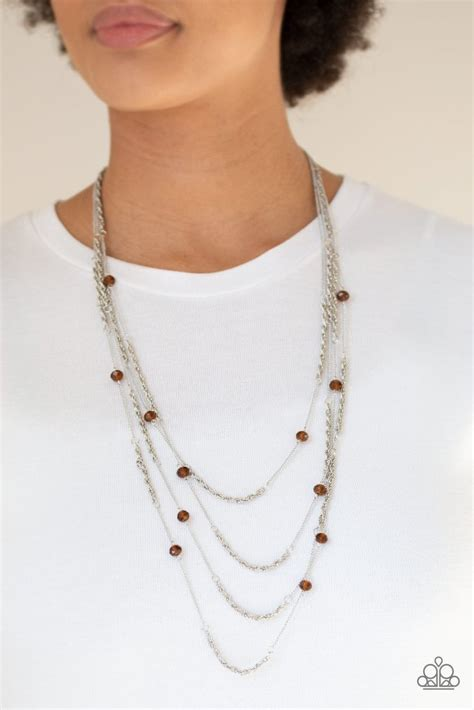 open  opulence brown necklace paparazzi accessories