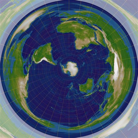 flat earth equidistant map projection north or south