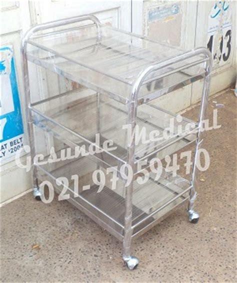 Meja Troli meja instrumen 3 susun stainless steel toko medis jual