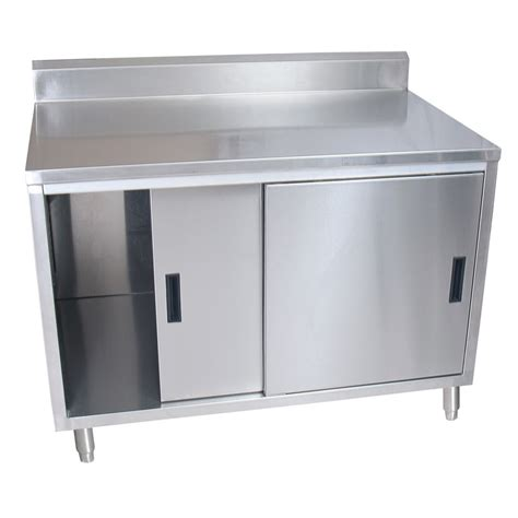stainless steel work table enclosed base cabinet bk bkdcr5 3048s work table 48 quot w x 30 quot d enclosed