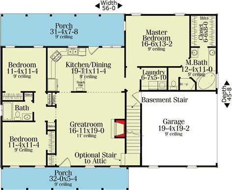 split ranch floor plans split bedroom country ranch 62099v 1st floor master