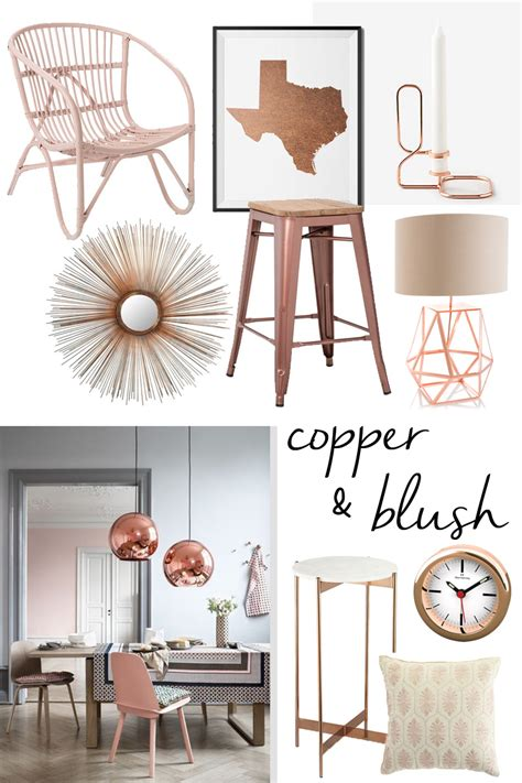 rose gold home decor copper and blush home decor