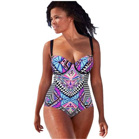 Tribal Monokini Swimsuit Swimwear Gstri Diskon cfanny 2016 plus size swimwear purplish tribal print bathing suit one swimsuit