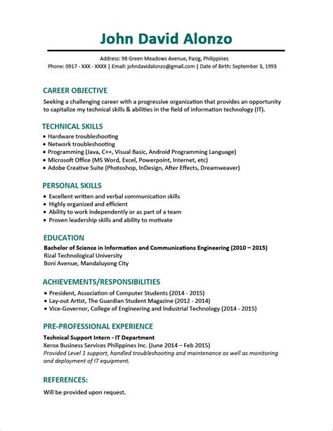 general objective for a resume communicating network engineer resume format sample page