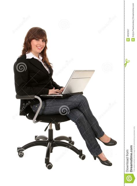 businesswoman sitting  office chair  laptop stock image image  education computer
