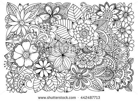 flower doodle coloring pages gallery floral drawings for coloring drawing gallery