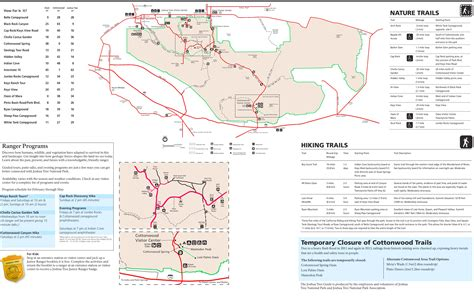 joshua tree park map joshua tree national park trail map
