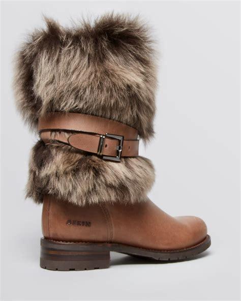 aerin flat fur boots kappel in brown lyst