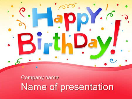 Happy Birthday Text Powerpoint Template Backgrounds Id Happy Birthday Ppt Template