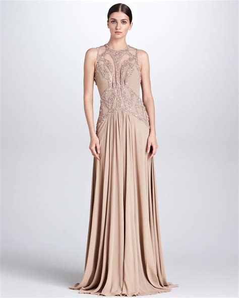 elie saab beaded dress elie saab beaded cutout gown bisque in beige bisque lyst