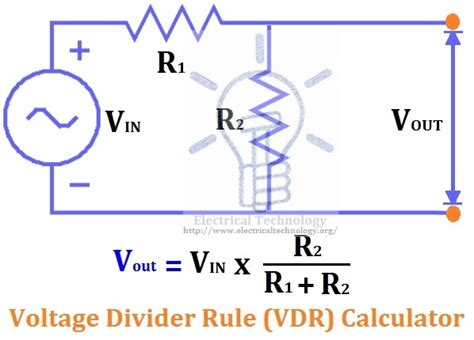 2 resistor voltage divider calculator voltage divider rule vdr calculator electrical technology