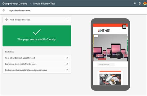 console mobile search console new mobile friendly test tool