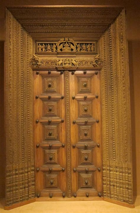 antique wooden carved door intricate india