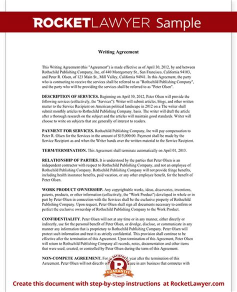 Letter Of Agreement Freelance Writing Freelance Writer Contract Template With Sle