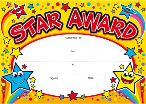printable star of the day certificates star award award one certificate each week on a friday
