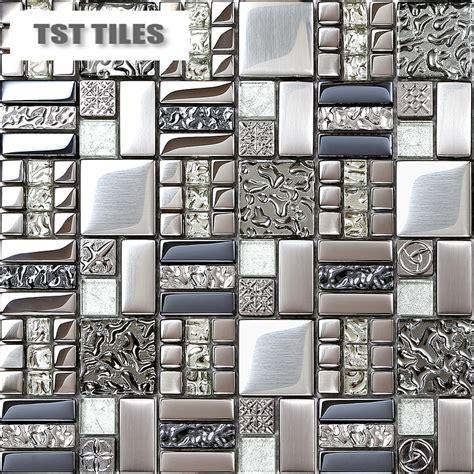 home tiles mosaics silver metal coating glass tile backsplash kitchen bathroom wall decor