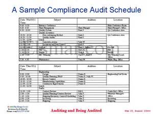 a sample compliance audit schedule