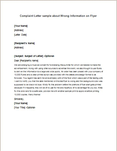 Complaint Letter Wrong Billing Formal Official And Professional Letter Templates Part 11