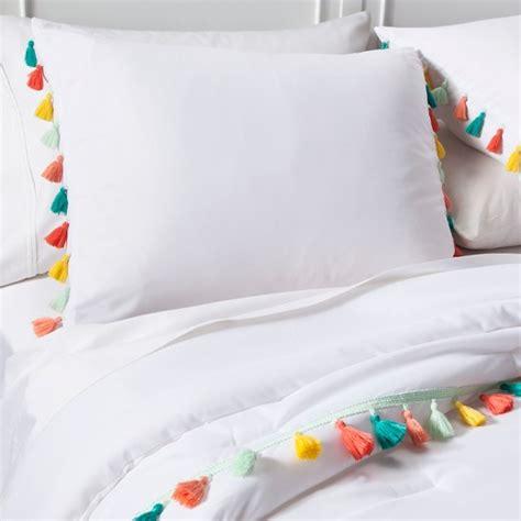 target white comforter set tassel comforter set white pillowfort target