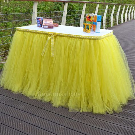 Cheap Yellow Tulle Table Skirt Fabric Table Skirts For