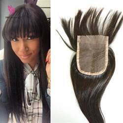 7a human hair lace closure with bangs virgin brazilian