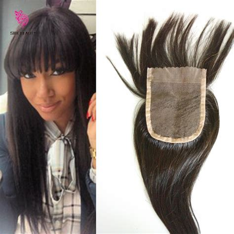 Human Hair Weave Closure With Bangs | 7a human hair lace closure with bangs virgin brazilian