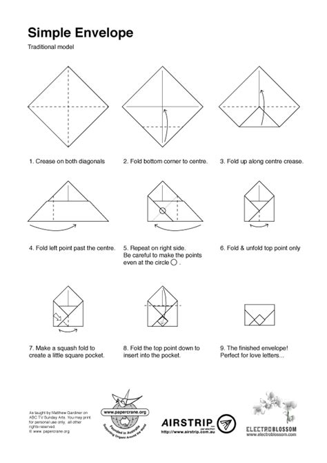 Origami Envelope Diagram - andre origami envelope