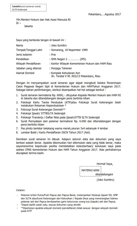 contoh surat lamaran kerja kemenkumham sma 2017 contoh surat lamaran kerja penjaga tahanan sipir dalam