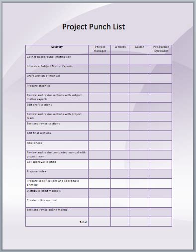 project listing template project punch list template ms