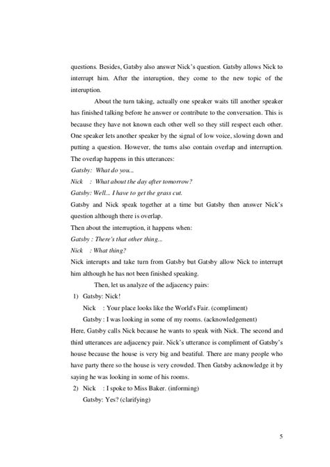 The Great Gatsby Character Worksheet Answers by Conversation Analysis In The Great Gatsby