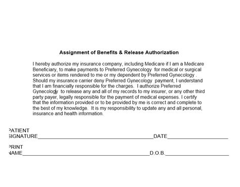 Assignment Of Benefits Form Insurance Vocaalensembleconfianza Nl Assignment Of Benefits Form Template