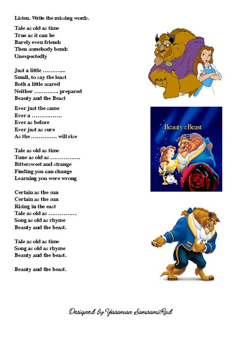 beauty and the beast lyrics the gallery for gt beauty and the beast lyrics