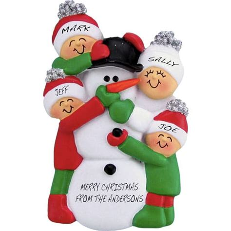 snowman family personalized christmas ornament christmas