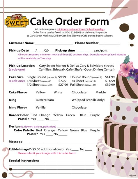 Order Forms Cake Negocios Pinterest Order Form Cake And Cake Business Custom Cake Order Form Template