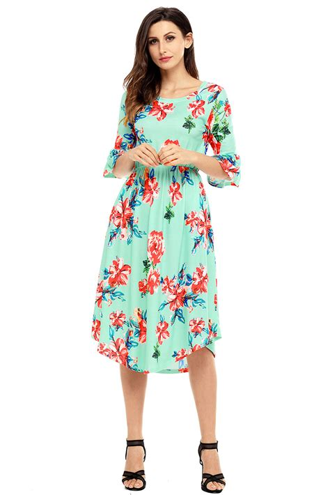 Dress Midi Mini Gaun Spandek Set Cardigan Polos Resmi Formal Kerja us 7 92 green 3 4 bell sleeve floral midi dress dropshipping