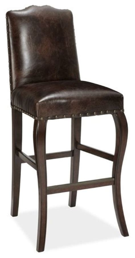 Brown Leather Bar Stools Calais Bar Stool Antique Brown Leather Traditional