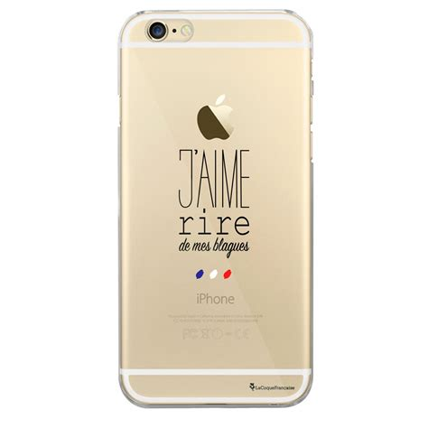coque rigide transparent jaime rire de mes blagues iphone