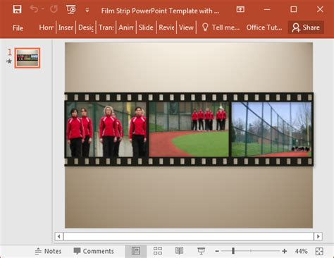 filmstrip powerpoint template with sle video clips