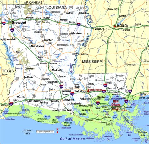 louisiana and map highway map of louisiana aaccessmaps